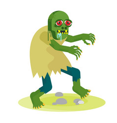 Green toothy zombie with red eyes walks with vector