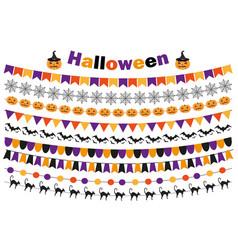 Halloween set of festive decorations flags vector