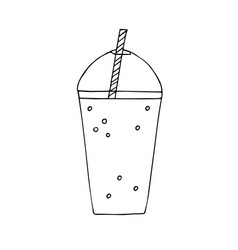 hand drawn doodle sketch smoothie drink vector image