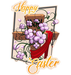 happy easter cross with flowers vector image