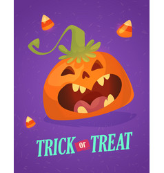 happy halloween greeting card with cute pumpkin vector image