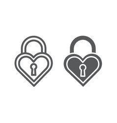 heart shaped lock line and glyph icon love and vector image