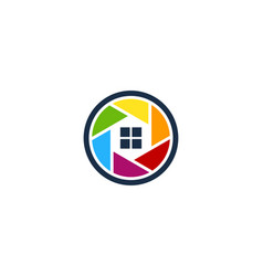 home camera logo icon design vector image
