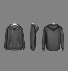 Hoody black sweatshirt on hanger mock up set vector