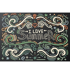 I love summer Hand drawn vintage print vector