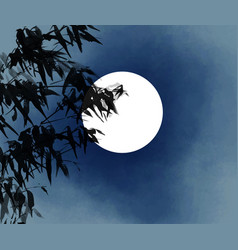 Ink wash painting bamboo and moon vector