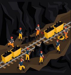 isometric coal industry concept vector image