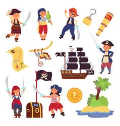 kids pirates characters cartoon funny children vector image