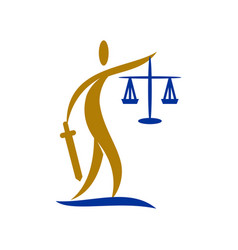 Law justice firm people sword balance logo design vector