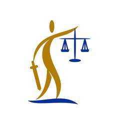 law justice firm people sword balance logo design vector image