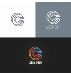 letter C logo alphabet design icon set background vector image vector image