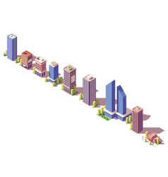 low poly isometric modern buildings set vector image