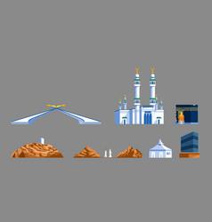 Mecca landmark flat graphic collection vector