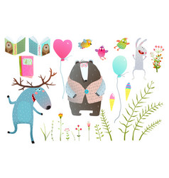 Moose and bear books flowers items clip art vector