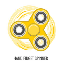 moving hand fidget spinner color yellow toy vector image