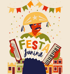 Musician with an accordion brazilian holiday vector
