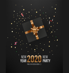New year party invitation layout with gift box vector