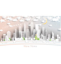 new york usa city skyline in paper cut style with vector image