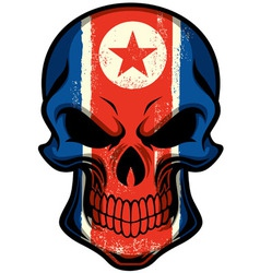 North korea flag painted on skull vector