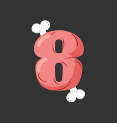 number 6 meat pork and bone font eight ham vector image