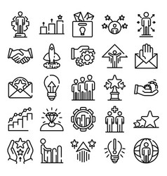 Opportunity icons set outline style vector