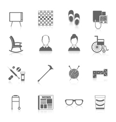 Pensioners life icons black vector