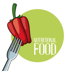 Pepper nutritional food fork image poster vector