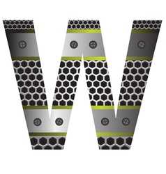 perforated metal letter W vector image