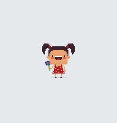 Pixel art girl vector