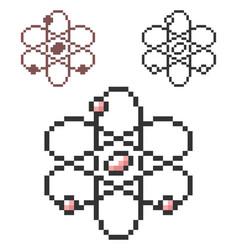 Pixel icon atom model in three variants fully vector