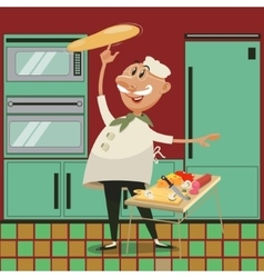 Pizza cooking cartoon vector image