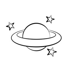 planet stars doodle vector image