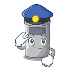Police steel trash can with lid cartoon vector