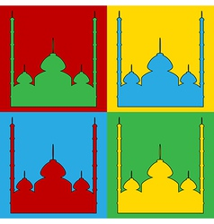 Pop art mosque icons vector