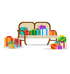 Presents on bench holiday collection vector