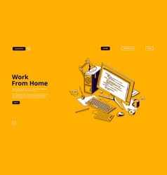 programmer work from home isometric landing page vector image
