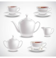 Realistic Tea Set vector