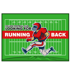 red running back recruitment poster vector image