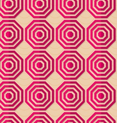 Retro fold pink striped octagons vector image