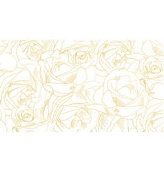 Roses bud outlines pattern with flowers in yellow vector