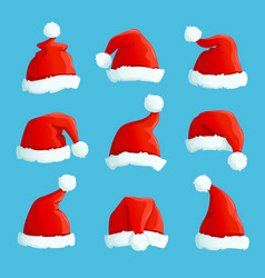 santa hats cartoon christmas costume caps with vector image