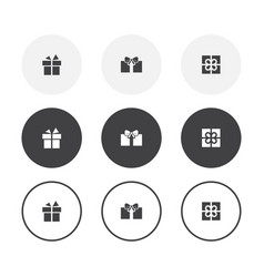 set 3 simple design gift icons rounded vector image