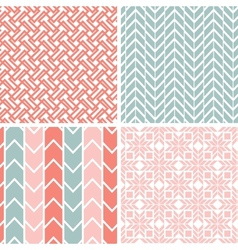 Set four gray pink geometric patterns and vector