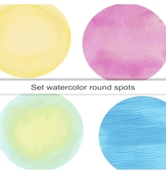 Set of bright circular spot watercolor vector