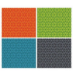 set of seamless patterns with hexagons vector image
