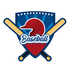 shield sticker with baseball sport equipment vector image