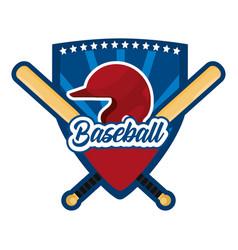 Shield sticker with baseball sport equipment vector
