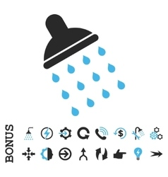 Shower Flat Icon With Bonus vector image