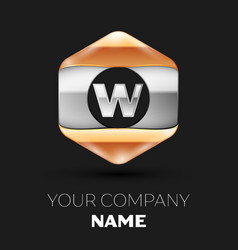 Silver letter w logo in silver-golden hexagonal vector