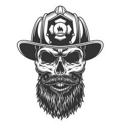 skull in the fireman hat vector image